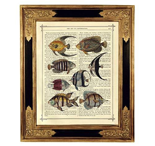 Fische Aquarium Poster Steampunk Kunstdruck auf viktorianischer Buchseite Meer Ozean Geschenk Bild ungerahmt