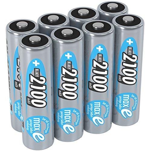 ANSMANN Akku AA Mignon 2100mAh 1,2V NiMH - wiederaufladbare Batterien AA Akkus maxE (geringe Selbstentladung & vorgeladen) ideal für Spielzeug, Funk-Tastatur/Maus, Wii & Xbox Controller (8 Stück)