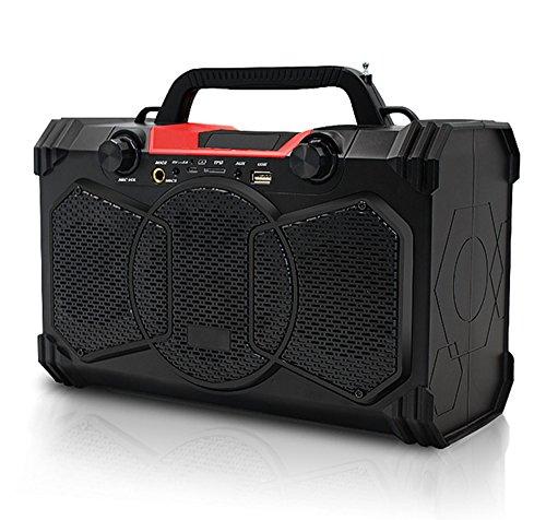 GAOWF Dual-Mikrofon Bluetooth Dusche Lautsprecher, Outdoor Computer Wireless Holz Lautsprecher Subwoofer-Karte Sound (Unterstützung USB/TF/Aux/FM, 6 Stunden Spielzeit, 30 W) (Griff Kabel-unterstützung)