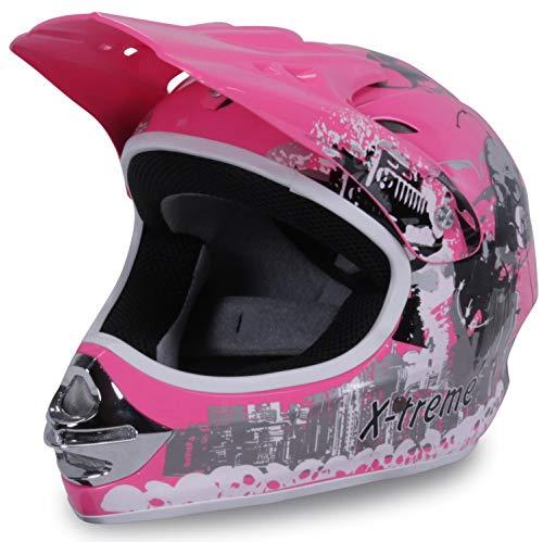 Actionbikes Motors Motorradhelm Kinder Cross Helme Sturzhelm Schutzhelm Helm für Motorrad Kinderquad und Crossbike in pink (Medium)