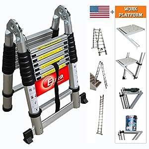 Euro Double Telescopic Aluminium ladder 5.6 meter (19 feet) - Stores at 3.5 feet - Made in USA - Work Platform - A Frame 9 feet - Wall Support 17 feet - Ultra Portable - Rapid unlock hinge