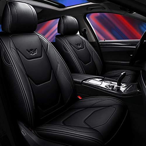 Autositzbezug, Vorne Hinten 5 Sitz Voll Set Universal Leder Seasons Pad Kompatibel Airbag Seat Protectors Wasserdicht. (Farbe : Schwarz)
