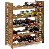 Relaxdays Weinregal Walnuss für 25 Flaschen HxBxT: 73 x 63 x 25 cm Flaschenregal Holz aus Walnussholz geölt mit 5 Etagen für je 5 Flaschen Weinflaschenregal, natur