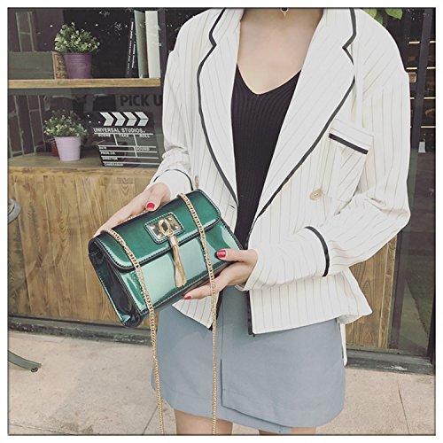 Mini-Tasche Damen Kette Lackleder Quaste Kleine Quadratische Tasche Schulter Messenger Bag Grün