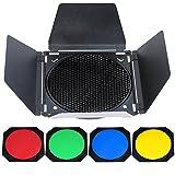 """Yunchenghe Godox BD-04 Barn Door Tordoor con griglia a nido d'ape e 4 filtri gel colorati (rosso giallo blu verde) per 7 """"riflettore standard"""