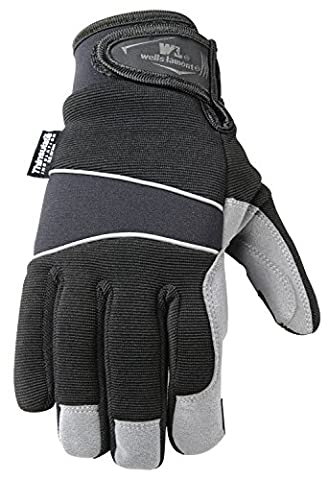 Wells Lamont Cold Weather Synthetic Leather Gloves with Spandex Back, Neoprene Wrist, Thinsulate, Medium (7745M)