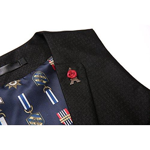 Weste Heren Tweed Vintage Hochzeit Business Slim Fit Blau Schwarz XS S M L 06Schwarzblau