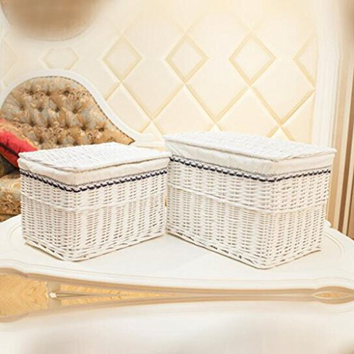 Bambuskorb Rattan Aufbewahrungsbox Wäschekorb Rattan Korb Kleidung Aufbewahrungsbox Perle weiß + weiße Spitze alle Weiden Trompete Obst Geschenkkorb (Farbe : #3, größe : 48 * 35 * 35) (Perlen Trompete Kleid)