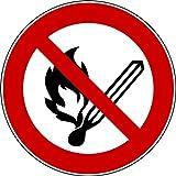 10 Aufkleber Keine offene Flamme, Feuer, offene Zündquelle und Rauchen verboten Aufkleber (10 Stück) vorgestanzt für Innen & Außen mit UV-Lack, witterungsbeständig, selbstklebend, keine offene Flamme Schild überkleben, Verbotszeichen Arbeitssicherheit Keine offene Flamme Feuer offene Zündquelle und Rauchen verboten benutzen Feuer-Aufkleber von Aufklebo P003 Aufkleber Arbeitsschutz