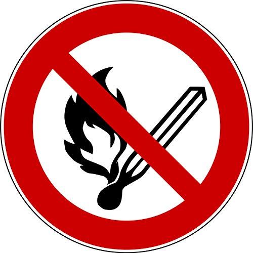 10 Aufkleber Keine offene Flamme, Feuer, offene Zündquelle und Rauchen verboten Aufkleber (10 Stück) vorgestanzt, selbstklebend, keine offene Flamme Schild überkleben, Verbotszeichen Arbeitssicherheit Keine offene Flamme Feuer offene Zündquelle und Rauchen verboten benutzen Feuer-Aufkleber von Aufklebo P003 Aufkleber Arbeitsschutz