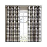 """Jacquard Tartan Check Grey Black Lined 45"""" X 90"""" - 114CM X 229CM Ring TOP Curtains from Curtains"""