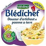 Blédina blédichef douceur d'artichaut et pdt 2x230g dès 12 mois - ( Prix Unitaire ) - Envoi Rapide Et Soignée