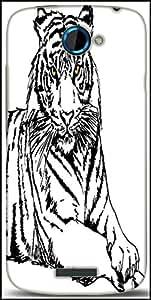 Snoogg Sketch Of White Tiger Vector Illustration Designer Protective Back Case Cover For HTC One S