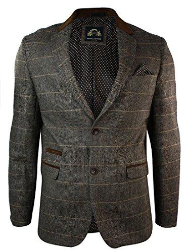 Braunes Blazer Sakko, (Herrensakko Karriert Braun Fischgrate Vintage Tweed Design Eng)