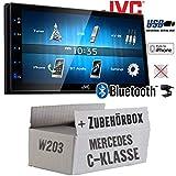 Mercedes C-Klasse W203 - Autoradio Radio JVC KW-M24BT - 2-DIN Bluetooth MP3 USB Autoradio TFT Touch - Einbauzubehör - Einbauset