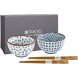 Tokio Design Studio Schüssel-Set 12,7x 7,5cm (2Pcs und 2Paar Essstäbchen) schwarz/weiß hb-7420/ab, blau/weiß