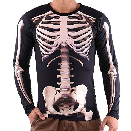 mel 3D Skeleton Print Halloween T-Shirt Kleidung Strechy Skinny Tops Männer (Halloween Skelett Sweatshirt)