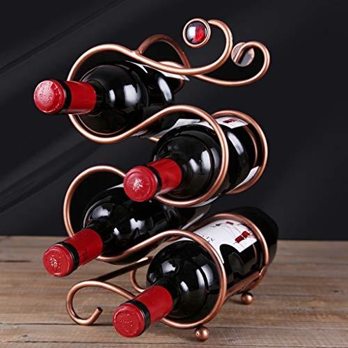 Küche-schränke-bar (Qivor 3-lagiges stapelbares, hochwertiges Metall-Weinregal mit 4 Flaschen Weinregal auf der Arbeitsplatte - Freistehend - Geeignet for Bars, Weinkeller, Keller, Schränke, Küchen usw. - Enthält 4 Flasc)