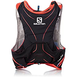 Salomon S-Lab Advanced Skin Backpack - Mochila de Hidratación para Running, Set de 5, color Negro/Rojo, talla Medium/Large