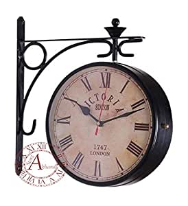 akhandstore 10 inch clock dia antique wall clock metal railway clock two sided