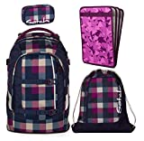 satch pack by ergobag 4er Set Schulrucksack + Sportbeutel + Schlamperbox Berry Carry & Heftebox Purple