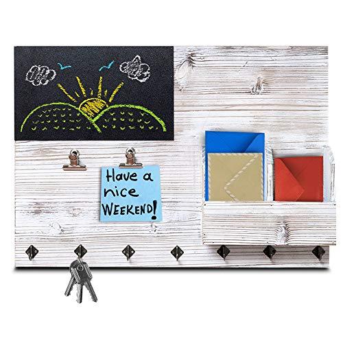 The Ultimate Rustic Wandorganizer 4-in-1 Schlüsselhalter für Wand, Pinnwand, Memo-Tafel und Brief-Organizer - Küche und Eingangsbereich Organizer mit Schlüsselhalter-Haken, Clips und Briefsortierung. Memo Center