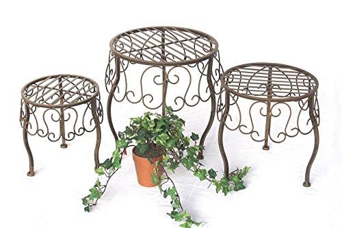 DanDiBo Blumenhocker Metall Braun Rund 3er Set Blumenständer 140129 Beistelltisch Pflanzenständer Klein -