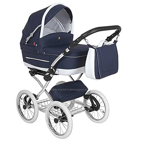 Classico Turran Deluxe- Klassischer Kinderwagen im Retro Design - luxus Kombi Kinderwagen 3 in 1 (Kinderwagen + Sportwagen + Adapter für MaxiCosi Autositz) und viel Zubehör