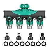 Komake 4-Wege-Verteiler, Wasserverteiler mit Absperrhahn Wasserhahn Adapter Schlauchverbinder & Schlauchverteiler, inklusive 4 Verbindungsadapter und 8 Gummi-Unterlegscheibe