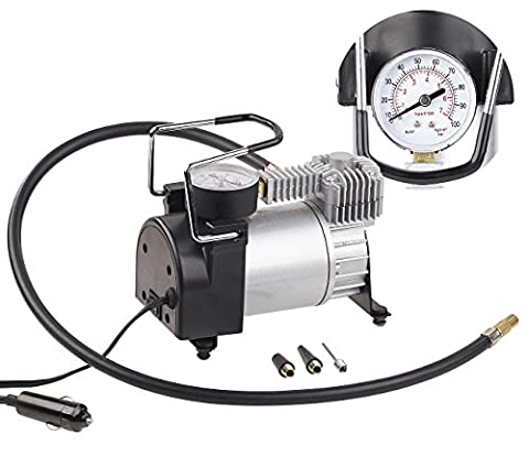 Lescars Luftkompressor: Mini-Luft-Kompressor mit Manometer, 12 V, 100 psi, 168 Watt, 3 Adapter (12V Kompressor)