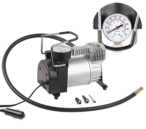 12v Luft-kompressor (Lescars 12V Kompressor: Mini-Luft-Kompressor mit Manometer, 12 V, 100 psi, 168 Watt, 3 Adapter (12 Volt Kompressor))