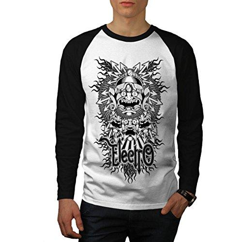 Electro Monster Maske China Herren NEU Weiß (Schwarz Ärmel) L Baseball lange Ärmel T-Shirt   Wellcoda