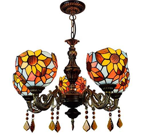 WFTD European Sun Flower Glass Chandelier, Tiffany Style 25-Inch Ceiling Light Crystal Pendant 5-Light Colorful Restaurant Pendent Light