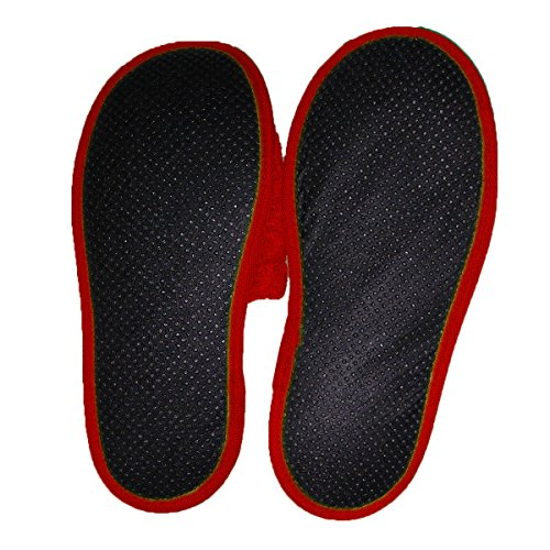 Pantofole in Spugna per il Bagno Uomo/Donna, 100 % cotone Rosso