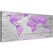 Tamaño grande morado y gris mapa del mundo Atlas pared arte moderno lienzo decorativo (120cm de ancho–1298Wallfillers
