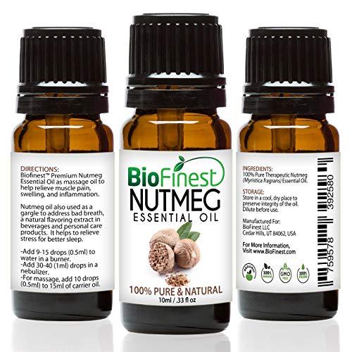 biofinest aceite de nuez moscada-100% puro aceite esencial de nuez moscada-aliviar el dolor muscular, Hinchazón, Inflamación-PREMIUM CALIDAD-grado Terapéutico-mejor para aromaterapia-libre E-BOOK