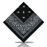 [UK SELLER] BANDANA HEAD SCARF SCARVES PAISLEY MANY COLOURS 100% COTTON (Black)