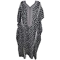 Mogul Interior Women Kimono Kaftan Black Printed Viscose Lounge Caftan One Size