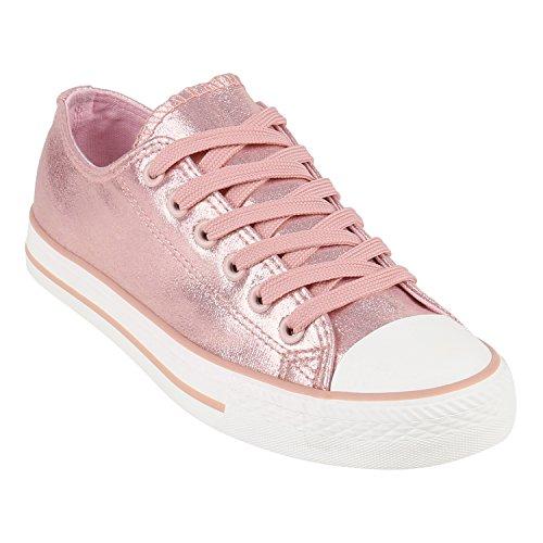 Damen Schuhe Sneakers Turnschuhe Freizeitschuhe Low Sneaker Übergrößen  Prints Glitzer Denim Rosa Camiri