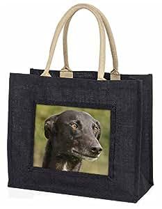 Greyhound Dog Large Black Shopping Bag Christmas Present Idea