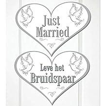 Amakando Pancarta Just Married | Placa de Puerta Boda | Placa Decorativa en Corazón | Letrero