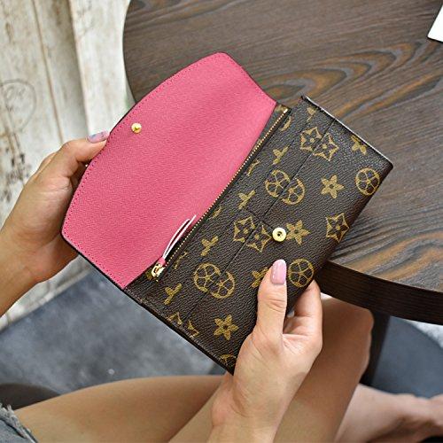 GUNAINDMX Porte Monnaie Portefeuille Femme Pochette Portefeuille Longue Grande Taille,Rose Rouge