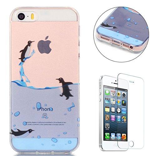 CaseHome Case for iPhone SE/5S/5 Hülle Weiche (with Displayschutzfolie) Flexibel Klar Gel Silikon Stoßfest Durchsichtig mit schönem farbenfrohem Muster -Fliegen-Pinguin