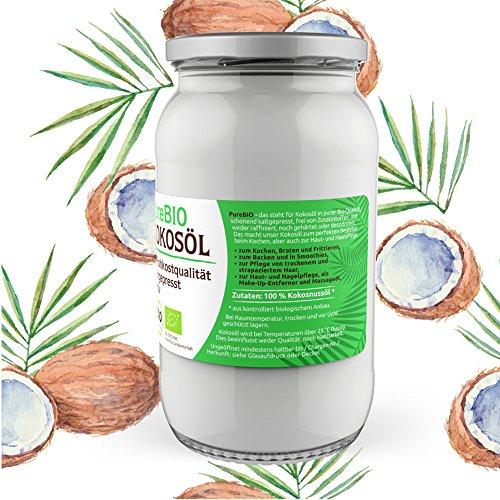 PureBIO Kokosöl 1.000 ml (1L) für HAARE, HAUT und zum KOCHEN - Kokosöl bio, nativ und kaltgepresst - 3