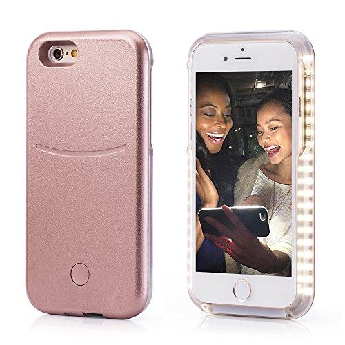 Preisvergleich Produktbild OKCS® Selfie LED Case Light Schutzhülle Foto Selfie Selbstporträit Beleuchtung Hardcover Licht für das iPhone 5 / 5s in Beauty Rosé Gold