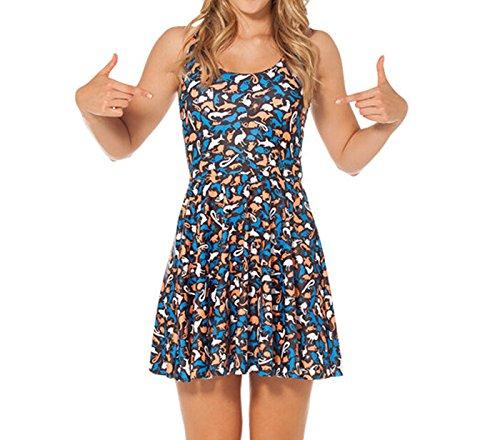 JTC Femme Robe Court Sans Manche en Fibre Polyester Seul une Taille Fille bleu et brun