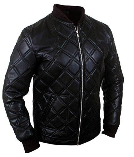 F&H Men's Beckham Quilted Bomber Genuine Leather Jacket Black