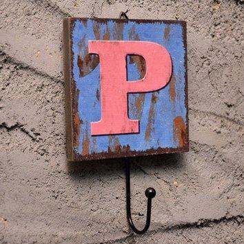 Crochet Mural Vintage Design Decoratif Porte Clés Original P alphabet lettre
