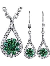 Dawanza - Juego de joyas de Cristal Plateado Oro para las Mujeres