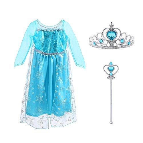 Vicloon Prinzessin Kostüm Mädchen, Eiskönigin ELSA Kleid Blau mit Diademe & Zauberstab, für Weihnachten Karneval Party Halloween,3 Pcs Elsa Kleid Sets,3-4 Jahre Size 110 (Körpergröße 110cm)